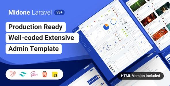Midone - Laravel 8 Admin Dashboard Template + HTML Version + XD Design File